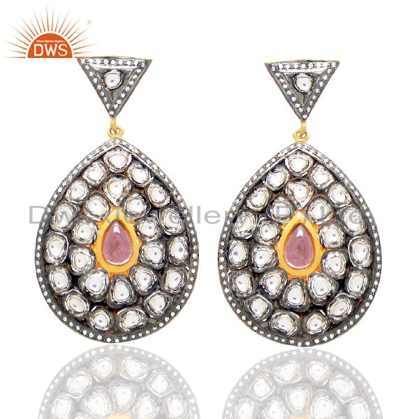RoseCut Diamond & Pink Toumuline Earring With 92.5% Sterling Silver 18k Gold