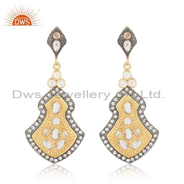 22K Yellow Gold Plated Sterling Silver CZ Crystal Quartz Vintage Dangle Earrings