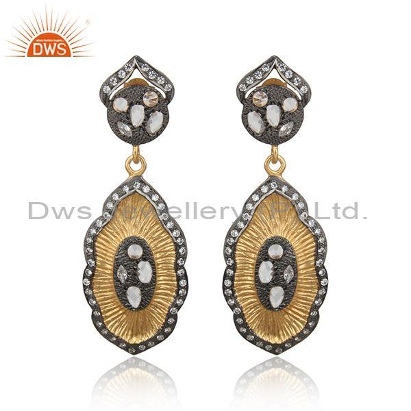 18K Yellow Gold Plated Sterling Silver CZ Crystal Quartz Vintage Dangle Earrings