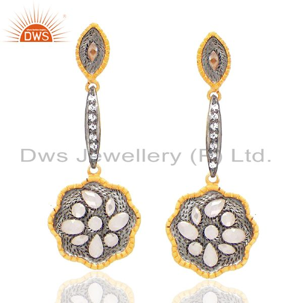 Oxidized Sterling Silver Crystal CZ Polki Antique Style Dangle Earrings