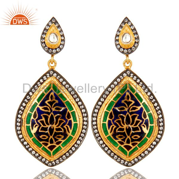 18K Yellow Gold Plated Sterling Silver CZ And Enamel Design Dangle Earrings