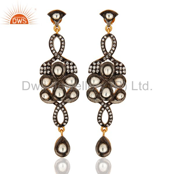 Gold Plated Sterling Silver Crystal CZ Polki Victorian Design Fashion Earrings