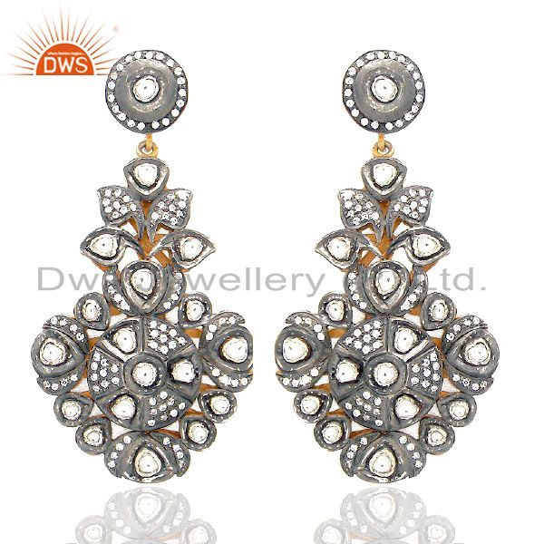 Oxidized 22k Gold Over Sterling Silver Crystal CZ Polki Victorian Dangle Earring