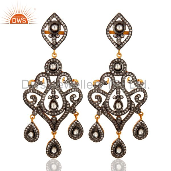 Crystal Cubic Zirconia Sterling Silver Victorian Style Bridal Chandelier Earring