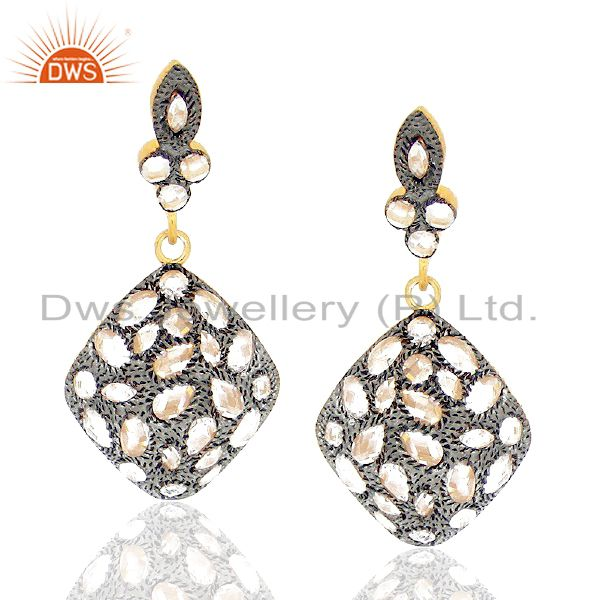 22K Gold Plated Sterling Silver CZ Crystal Polki Vintage Designer Dangle Earring