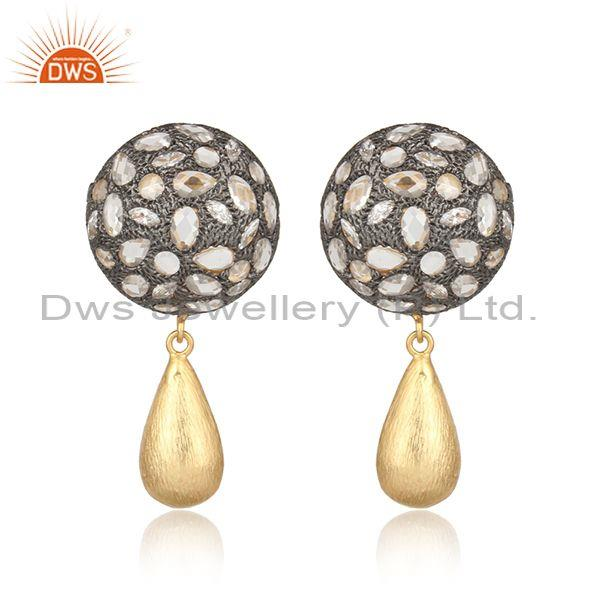 18K Yellow Gold On Sterling Silver Crystal Quartz CZ Antique Style Drop Earrings
