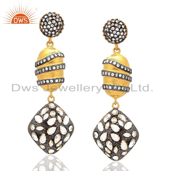 22K Yellow Gold Plated Sterling Silver Crystal CZ Polki Antique Dangle Earrings