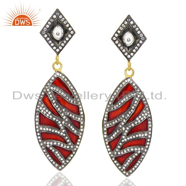 22K Yellow Gold Plated Brass CZ Polki And Red Enamel Antique Style Earrings