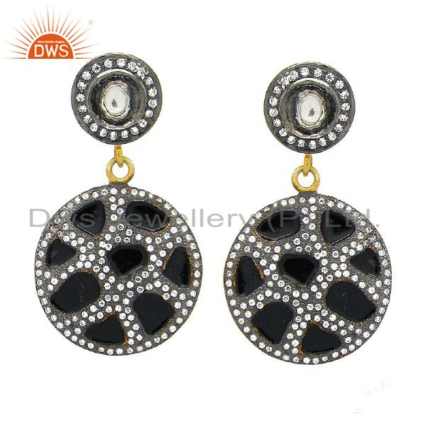 18K Yellow Gold Plated Sterling Silver Cubic Zirconia And Black Enamel Earrings