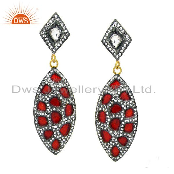 18K Yellow Gold Plated Sterling Silver Cubic Zirconia And Red Enamel Earrings