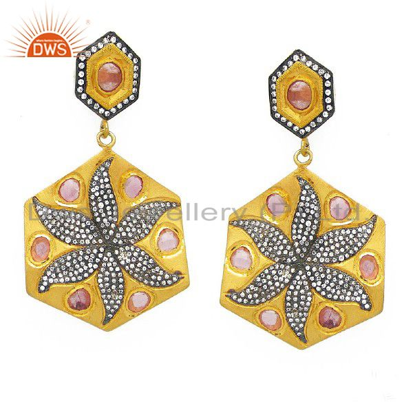 CZ And Pink Designer Fashion Dangle Earrings