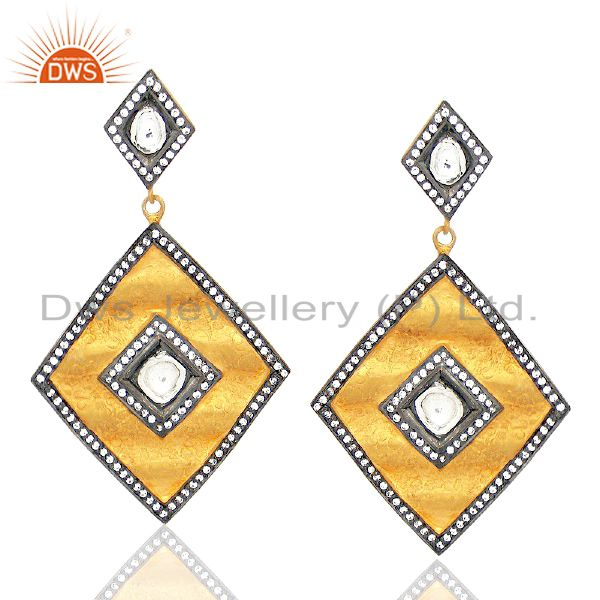18K Yellow Gold Plated Sterling Silver CZ Crystal Polki Designer Dangle Earrings