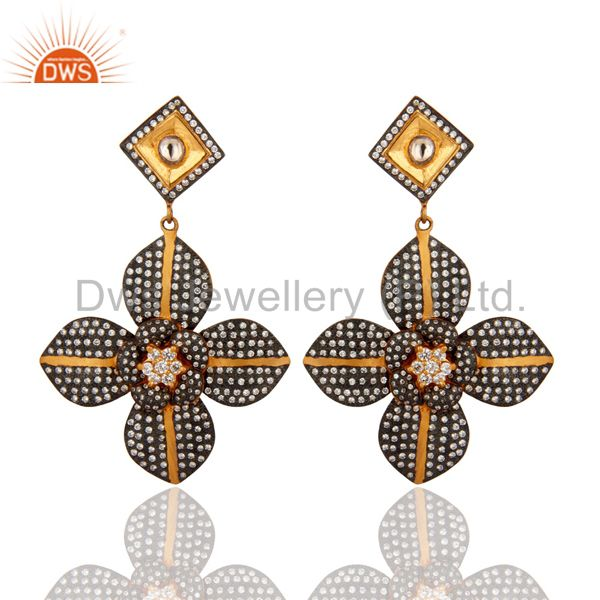 925 Sterling Silver Yellow Gold Plated CZ Flower Design Bridal Fashion Earrings