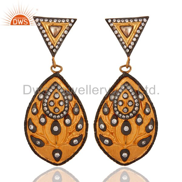 18K Gold Plated 925 Sterling Silver White Cubic Zirconia Modern Fashion Earring