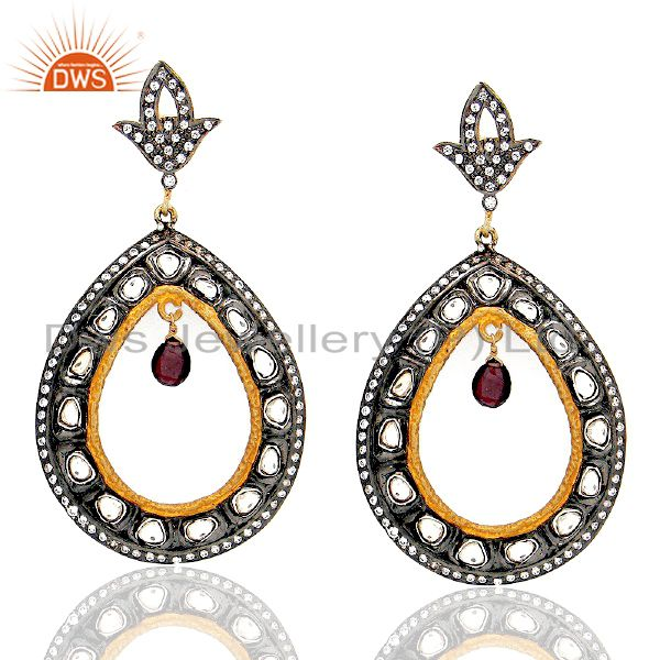 18K Yellow Gold Plated Sterling Silver CZ Crystal Polki Victorian Dangle Earring