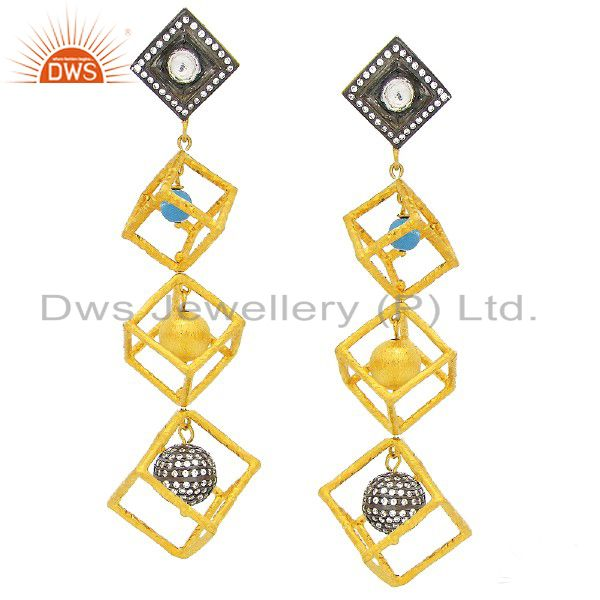 24K Gold Plated Sterling Silver CZ Crystal Polki And Turquoise Dangle Earrings