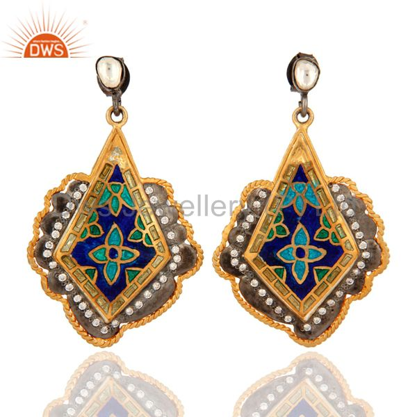Indian Traditional 18K Gold Plated Sterling Silver CZ Party Wear Enamel Earrings