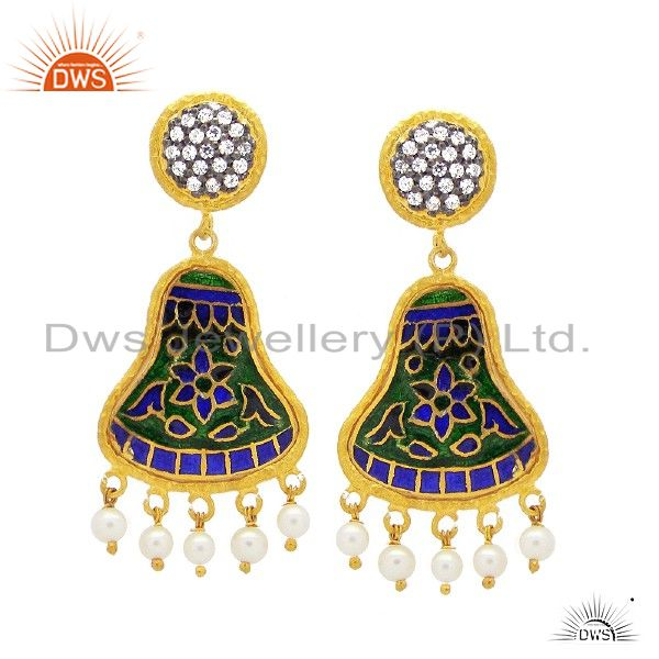 18K Yellow Gold Plated Sterling Silver Enamel And CZ Designer Dangle Earrings