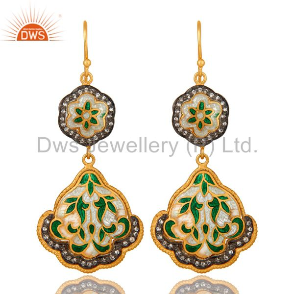 18K Yellow Gold Plated Sterling Silver Enamel Designer Dangle Earrings With CZ