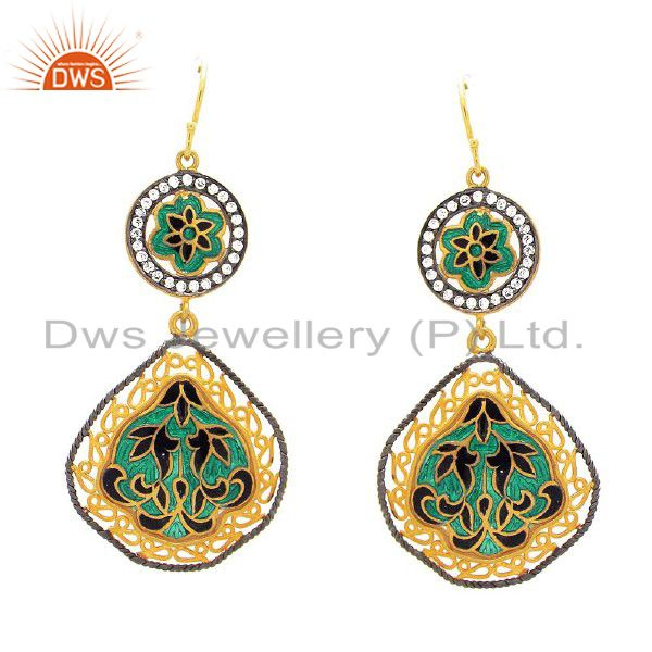 18K Yellow Gold Plated Sterling Silver CZ And Enamel Designer Dangle Earrings
