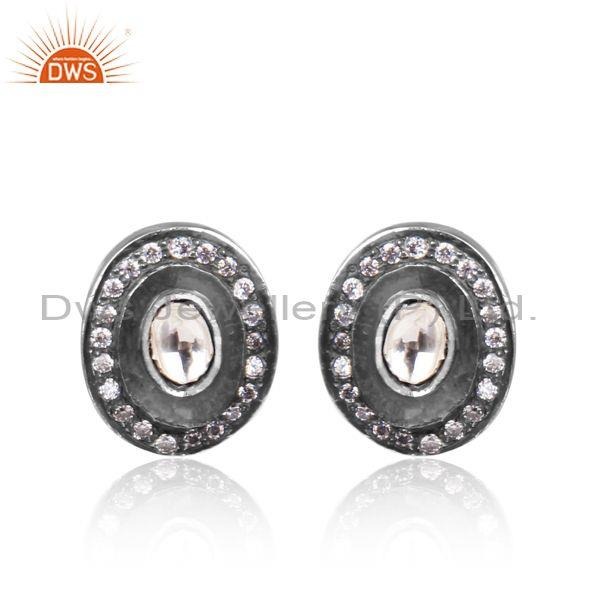 CZ, Crystal Quartz Set Oxidized Silver Oval Shaped Earrings