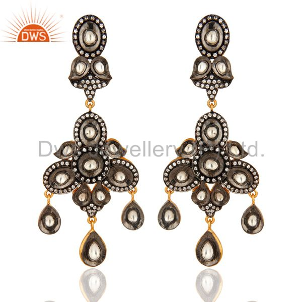 925 Sterling Silver CZ Crystal Polki Victorian Style Earrings - Gold Plated