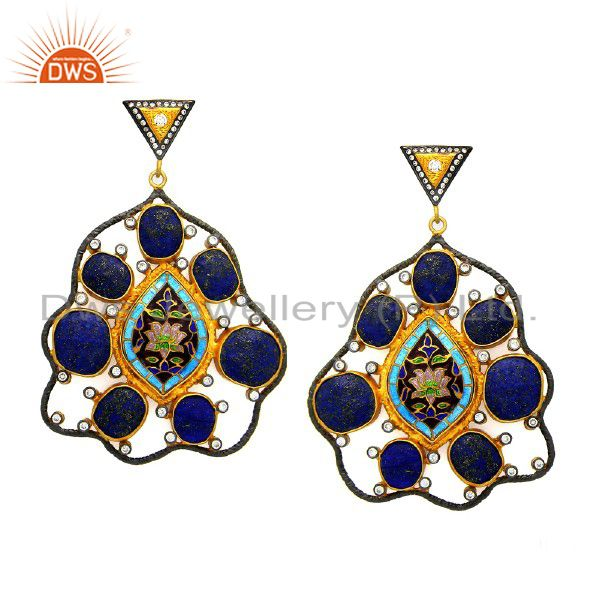 22K Yellow Gold Plated Sterling Silver Lapis Lazuli Dangle Earrings With CZ