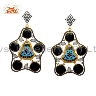 22K Yellow Gold Plated Sterling Silver Black Onyx Dangle Earrings With CZ