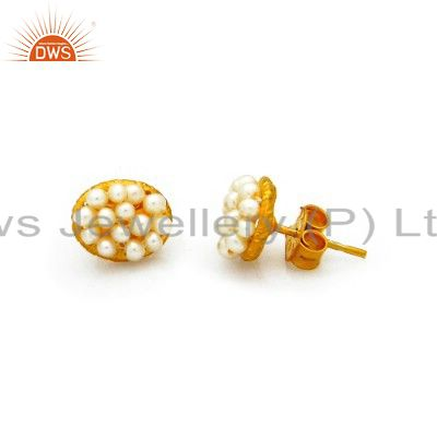 Ladies 14K Yellow Gold Plated Sterling Silver White Pearl Stud Earrings