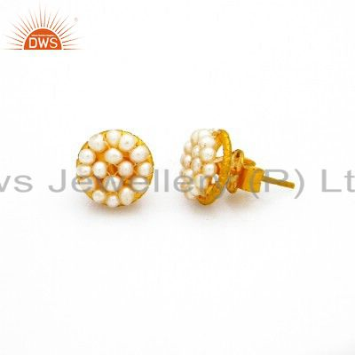 18K Yellow Gold Plated Sterling Silver White Pearl Stud Earrings For Womens