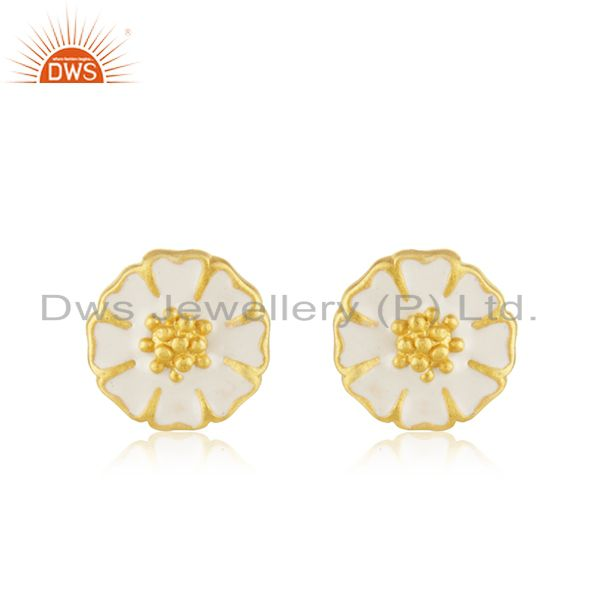 22K Yellow Gold Plated Sterling Silver White Enamel Designer Stud Earrings