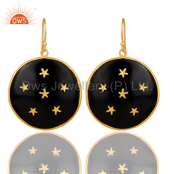 18K Gold Plated Black Enamel Star Design Ladies Fashion Hook Brass Earring