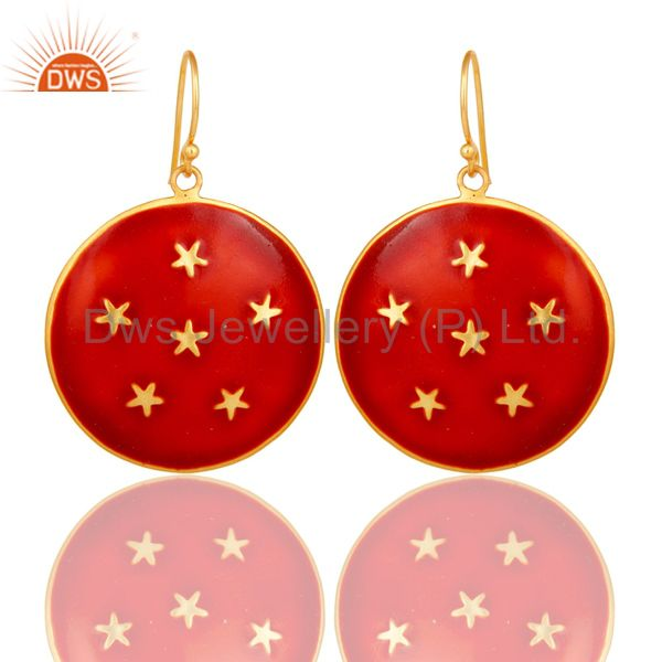 18K Yellow Gold Plated Red Enamel Star Design Ladies Fashion Hook Brass Earrings