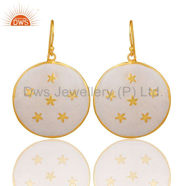 18K Gold Plated White Enamel Star Design Ladies Fashion Hook Brass Earrings