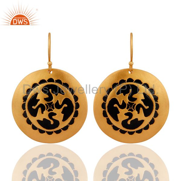 Antique Designer 24k Yellow Gold Plated Black Enamel Art Disc Design Earrings
