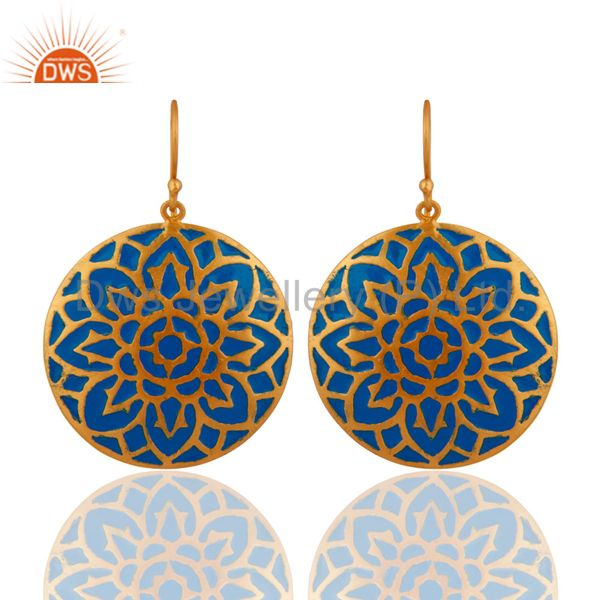 22-K Gold Plated Blue Enamel Earrings With Glorious Traditional Design Jewelry
