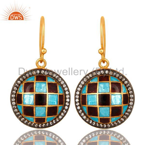 18K Yellow Gold Plated Sterling Silver CZ And Enamel Designer Disc Earrings