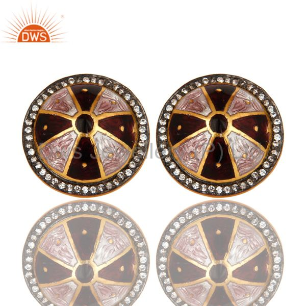 18K Yellow Gold Plated Sterling Silver CZ And Enamel Work Womens Stud Earrings