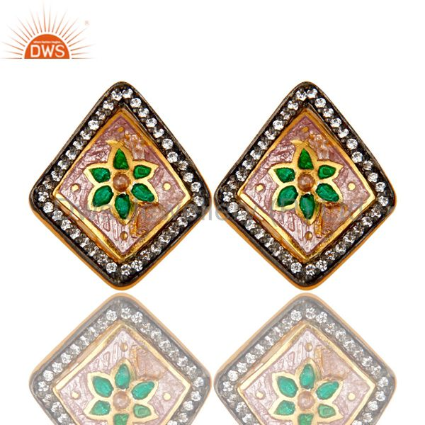 22K Yellow Gold Plated Sterling Silver CZ And Enamel Designer Stud Earrings