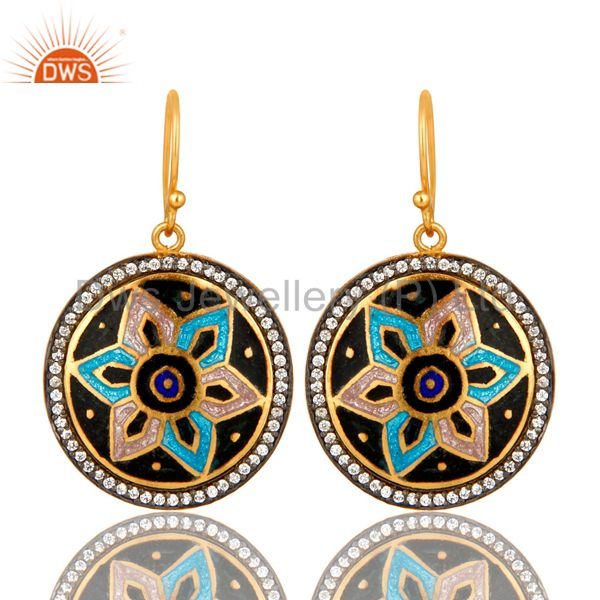 18K Gold Plated Sterling Silver Enamel Design Disc Dangle Earrings With CZ