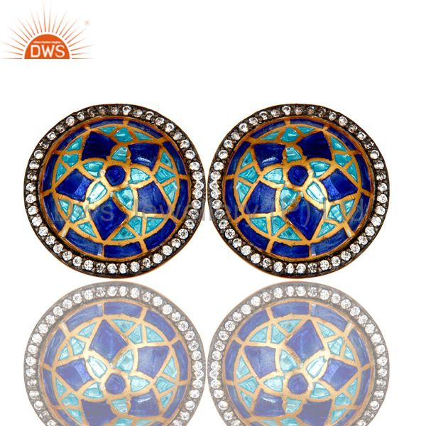 18K Gold Plated Sterling Silver CZ And Blue Enamel Design Round Stud Earrings