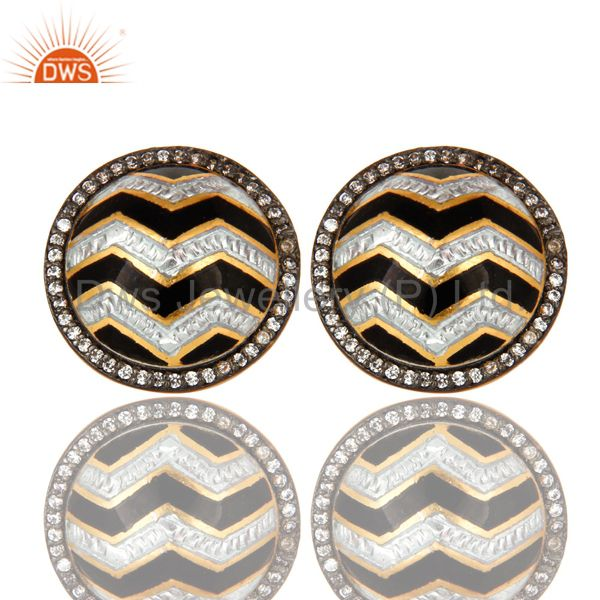 18K Gold Plated Sterling Silver Black And White Enamel Design Stud Earrings