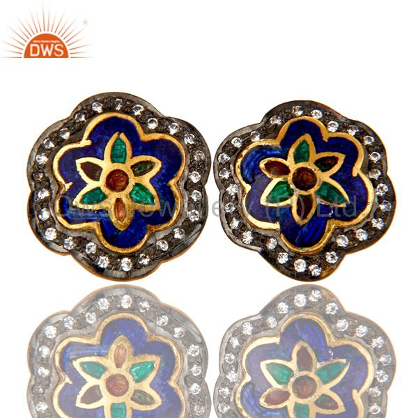 18K Gold Plated Sterling Silver Enamel Work Ethnic Fashion Stud Earrings With CZ