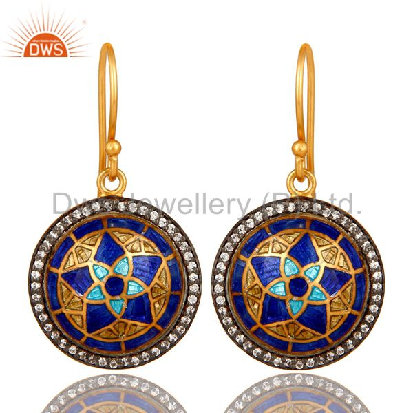 22K Yellow Gold Plated Sterling Silver CZ And Enamel Design Disc Dangle Earrings