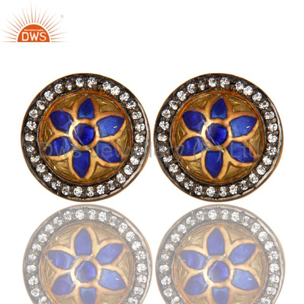 22K Yellow Gold Plated Sterling Silver CZ And Enamel Design Round Stud Earrings