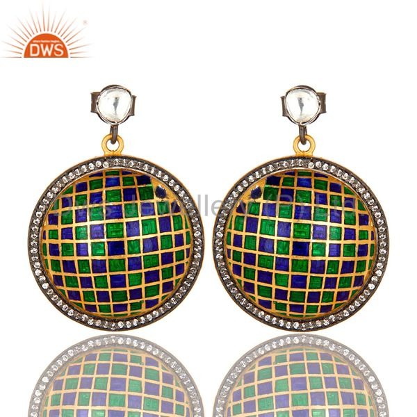 22K Gold Plated Sterling Silver CZ Polki And Enamel Design Round Stud Earrings