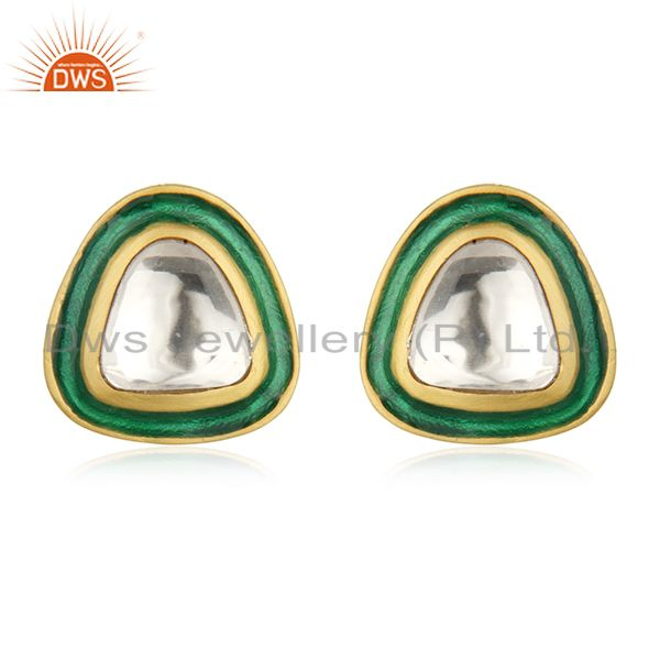 Gold Plated Sterling Silver Crystal Quartz Polki Stud Earrings With Green Enamel