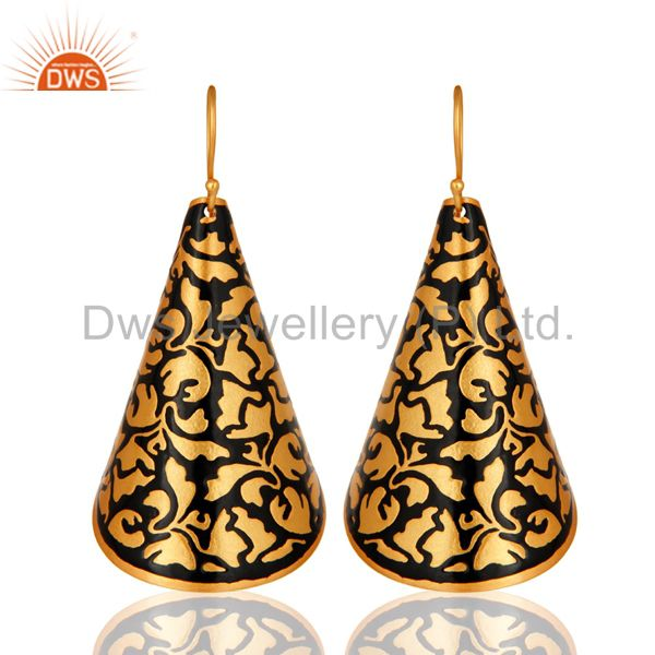 14K Yellow Gold Plated Black Enamel Designer Dangle Earrings Jewelry