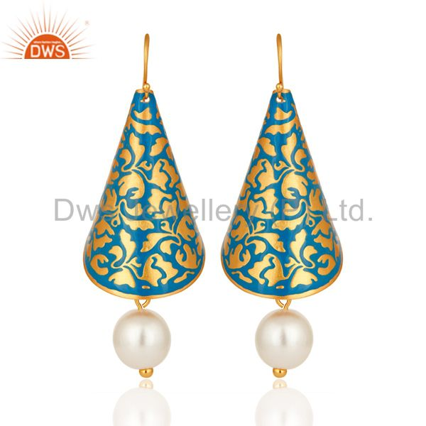 Natural Pearl Blue Enamel Indian Artisan Made Designer Earrings With Gold Vermei