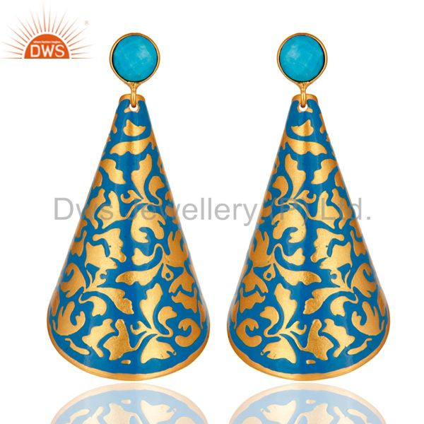 22K Yellow Gold Plated Turquoise Earrings with Blue Enamel Floral Design